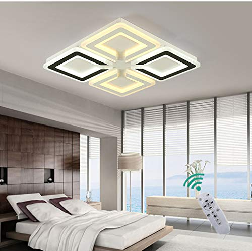 HZJ Techo Creativo Cuadrado LED Ultrafino Luz Dormitorio Dimmlampe Muebles Modernos Iluminación...