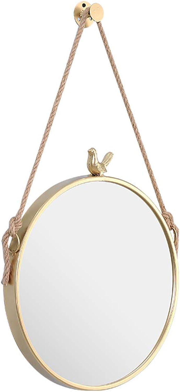 Circle Little Bird Decorative Wall Hanging Mirror Bathroom Mirror Hemp Rope gold Frame Makeup Vanity Living Room Bedroom Hallway(11.8 Inch27.5 Inch)