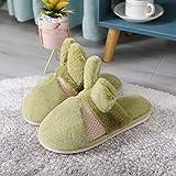 QXbecky Zapatillas de Piel de Invierno Gruesa Piel de Conejo Zapatillas de Interior para el hogar par de Dibujos Animados Zapatillas de algodón cálido