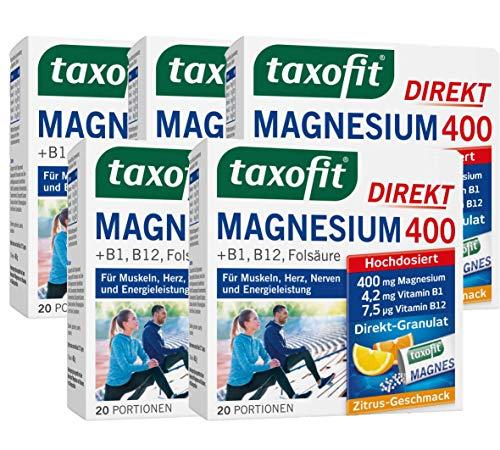 taxofit® Magnesium 400 Direkt-Granulat 5x 20 Portionen für Muskeln, Herz, Nerven und Energieleistung