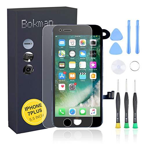 Bokman LCD Pantalla para iPhone 7 Plus Reemplazo de Pantalla LCD con Cámara Frontal, Sensor Flex, Altavoz Auricular y Herramientas de Reparación(Negro)