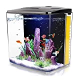 1.4 Gallon Aquarium Starter Kits , Aquariums Square Betta Fish Tank with LED Light and Filter Pump