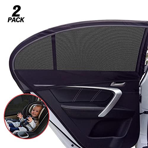 GOLDFLOWER Car Window Shade, 2 Pack Car Back Window Sun Shade, Sun Glare, and Privacy Protection for Toddler Kids Baby Adult, Double Layer Design (Medium/Car)