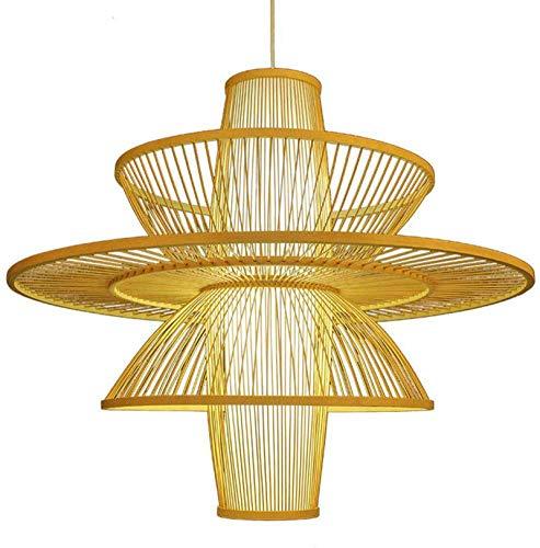 Lámpara de tejido de bambú Jaula Colgante Luz E27 Retro Mano Lámpara Lámpara Lámpara Sombra Ajustable Colgando Lámpara de techo Para Restaurante Café Dormitorio Decorativo Iluminación Araña Araña