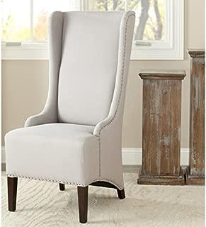 Safavieh Mercer Collection Stella Linen Side Chair with Trim Nail Head, Beige