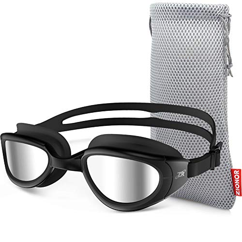 ZIONOR Swimming Goggles, G6 Non Polarized Swim Goggles UV Protection Watertight Anti-Fog Adjustable Strap Comfort fit for Unisex Adult Men and Women (Non-Polarized Mirror Silver Lens Black Frame)