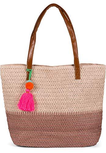 styleBREAKER Damen Korb Flecht Schultertasche 2-Farbig, Strandtasche mit langen Henkeln, Flechttasche, Reißverschluss 02012371, Farbe:Rose-Altrosa