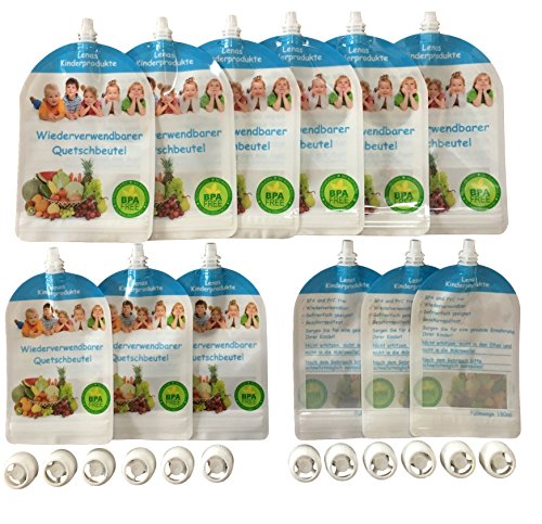 12er Set - Wiederverwendbare Quetschbeutel - BPA & PVC frei - Baby Klein-Kinder selbst mit gekochten Essen Gemüse Brei versorgen - Gefrierfach & Geschirrspülfest - Ernährung - 6x180ml und 6x400ml