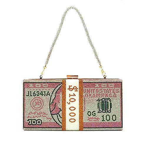 SJHFG Bolso de mano con diamantes de imitación, 10000 dólares, bolsa de almuerzo para el hogar, viajes, al aire libre, color rosa