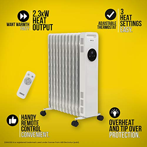 51WMXzq7 BL. SS500  - Zanussi ZOFR5005 2300W 11 Fin White Oil Filled Radiator with Touch Control, Adjustable Thermostat, 20 m2 Room Size…