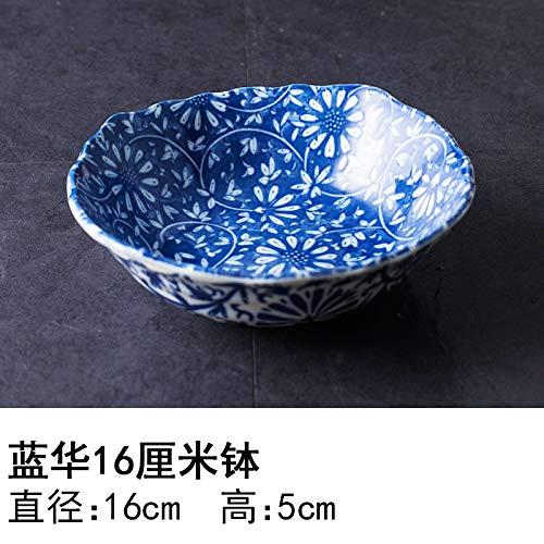 YUWANW Japon Plaque en Céramique Importés De Vaisselle en Porcelaine Importations Japonaises De Plat Dessert Saladier Plat Bol, Bol Bleu Bol Hua 16 Cm