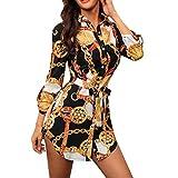 SANNYSIS Damen Langarm Hemdkleid V-Ausschnitt Elegant Kurz Blusenkleid Sexy Shirt Kleid Oberteil Kleid Bodycon Minikleid mit Gürtel Boho Drucken Sommerkleid Kleider (M, Weiß)