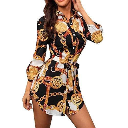 SANNYSIS Damen Langarm Hemdkleid V-Ausschnitt Elegant Kurz Blusenkleid Sexy Shirt Kleid Oberteil Kleid Bodycon Minikleid mit Gürtel Boho Drucken Sommerkleid Kleider (S, Weiß)