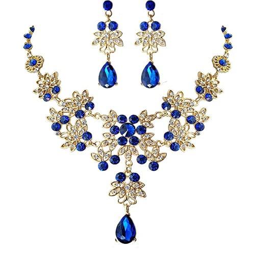 XIGAWAY BlueCrystal - Juego de joyas para mujer, diseño de lágrima, diseño floral