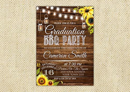 Einladungskarte zum Schulabschluss, Grillparty, Abschlussfeier, Einladung, Sonnenblume, Einladung, Einladung, Holzbretter