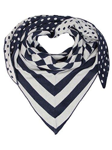 Zwillingsherz Dreieckstuch mit Kaschmir - Hochwertiger Schal mit Punkte-Streifen Muster für Damen Jungen und Mädchen - XXL Hals-Tuch und Damenschal - Strick-Waren für Winter 150cm x 120cm - navy