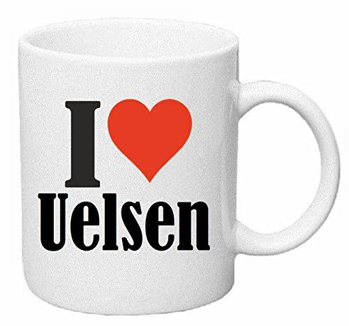 Koffiemok I Love Uelsen keramiek hoogte 9,5 cm ? 8 cm in wit