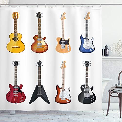 ABAKUHAUS Gitarre Duschvorhang, Streichinstrumente Jazz, mit 12 Ringe Set Wasserdicht Stielvoll Modern Farbfest & Schimmel Resistent, 175x180 cm, Mehrfarbig