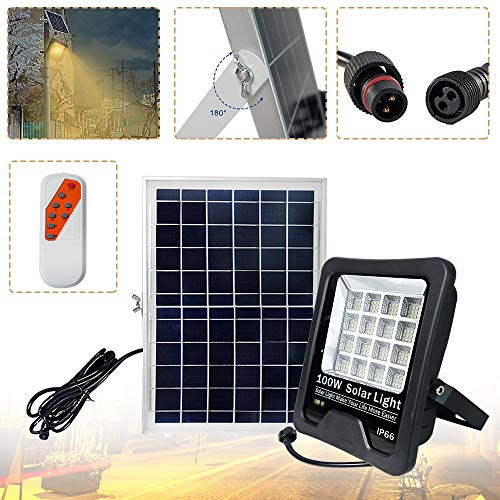 HENGMEI 100W LED Flutlicht Wasserdicht IP66 LED Strahler Solar LED Scheiwerfer Superhell für Sportplatz Garage Garten Hinterhof Außen [Energieklasse A+] - Warmweiß