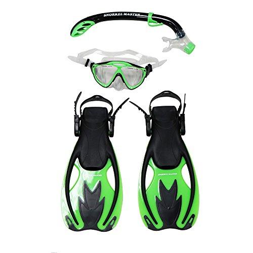 Tubo de Buceo Master Kids Snorkeling máscara y Snorkel Aletas Juego, Unisex, SCSET-286-GR-SM, Snorkel Master Kids Snorkeling Mask & Snorkel Fins Set, Green/Black, Small/Medium