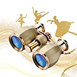 ESSLNB Opera Glasses Binoculars for Women Adults 4X30mm Theater Glasses Compact Binoculars for Theater and Concerts Antique Binoculars with Case Removable Chain Gold
