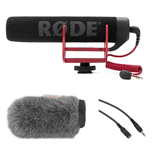 Rode VideoMic GO Camera-Mount Shotgun Microphone Bundle with Custom Windbuster & Mini to Mini Cable