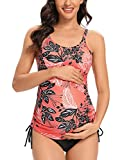 Tempotrek Maternity Swimsuits Two Piece Printed Floral Swimwear Modest Pregnancy Bathing Suits Tankini