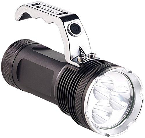 KryoLights Handlampe: LED-Handstrahler mit 3 Cree-LEDs & Akku, Alu-Gehäuse, 2.300 lm, IP54 (LED Akku Taschenlampe)