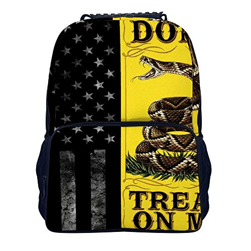COLORFULSKY Casual Stylish Backpack for Men Women Teens Kids Bookbag, College High School Business Daypack Outdoor Travel Bag - American Flag and Don't Tread On Me