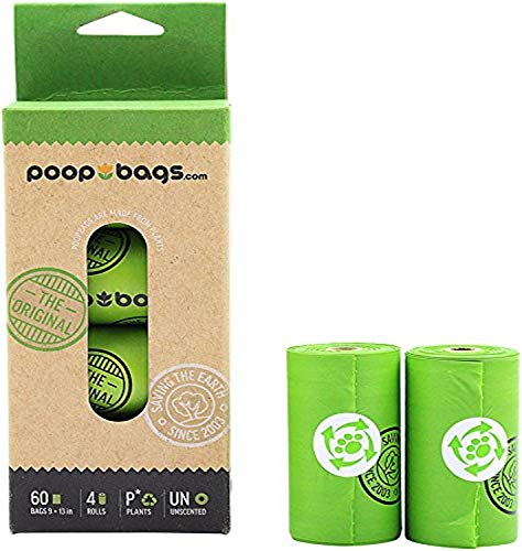 The Original Poop Bags Compostable Dog Waste Bags (Pack of 4, 60 Bags)