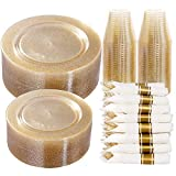 DaYammi 350 Pieces Gold Glitter Dinnerware Set 50 Guest - 50 Dinner Plates, 50 Dessert Plates -50 Per Rolled Napkins with Gold Cutlery - 50 Disposable Cups 9 OZ