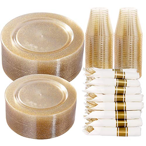 DaYammi 350 Pieces Gold Glitter Dinnerware Set 50 Guest - 50 Dinner Plates 50 Dessert Plates -50 Per Rolled Napkins with Gold Cutlery - 50 Disposable Cups 9 OZ