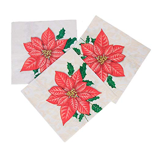 40 Count Christmas Red Poinsettia Party Cocktail Napkins Slice Party 2-Ply Paper Napkins for Christmas Party by Baryuefull