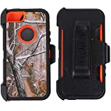 Heavy Duty Impact Rugged with Built-in Screen Protector Camouflage Case Cover with Clip for Apple iPhone 5/5S/SE (Orange-Tree-Camo)