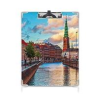 3 dパターンの クリップボード アルファベット 都市の景観 答案用紙入れ コペンハーゲンデンマークの美しい夏の日没デンマーク古いスカンジナビアビュー都市ヨーロッパホームマルチ