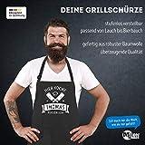 MoonWorks® Grill-Schürze Kochschürze für Männer mit Spruch Hier kocht der Chef persönlich Baumwoll-Schürze Küchenschürze Personalisiert schwarz Unisize - 4