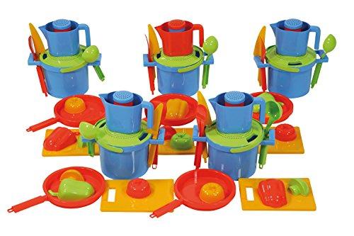 Lena 05504 - Happy Sand Kiga Set Kochschule, 60 Teile, je 5 Stück von 12 Sandspielzeugen, Sand und Wasser Spielzeug für Kinder ab 2 Jahre, optimale Ausstattung für Kindergärten oder Geburtstags Party