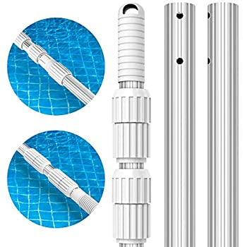 S-Union 12 Feet Swimming Pool Pole Thicken 1.3mm Aluminum Telescoping Pole Adjustable 3 Section from 4 to 12ft Extension Connect Skimmer Nets Rakes Brushes Vacuum Heads Universal 1.25