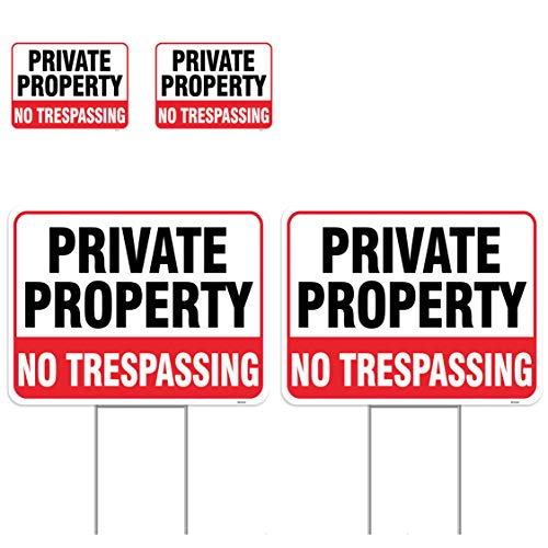 Venicor 2PC No Trespassing Signs Private Property with Stake, 17'x13' with 2PC Sticker, 4'x3' - Corrugated Plastic - Private Property No Trespassing Sign with Stake - Privacy Security Warning Signs