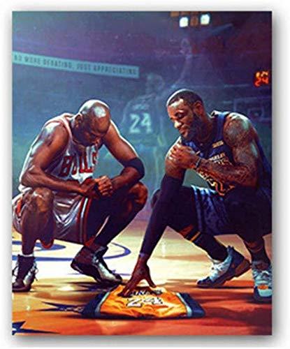AZBYC Kobe Bryant Michael Jordan Lebron James Poster Baloncesto Arte Cartel Lienzo Prints Inicio Decoración De Pared Pintura,50x75cm