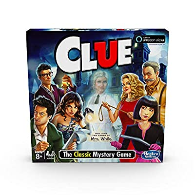 Hasbro Clue Game; Incudes The Ghost of Mrs. White; Compatible with Alexa (Amazon Exclusive); Mystery Board Game for Kids Ages 8 and Up from Hasbro