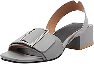 OrchidAmor 2019 Square Heel Sandals,Womens Fashion Casual Point Toe Buckle Strap Med Heel Shoes Blue