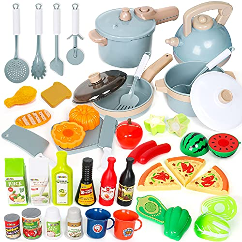 Shimirth Pretend Play Kitchen Accessories Playset, 38Pcs Kids Play Kitchen Toys with Play Pots and Pans, Utensils Cooking Toys, Cut Play Food Set, Canned Toy Food, Gift for Kids Toddlers Girls Boys