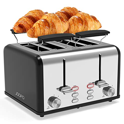 JOOFO Toaster 4 Slice,Bagel Toaster with 6 Shade Settings Extra-Wide Slot,Warming Rack,Stainless...