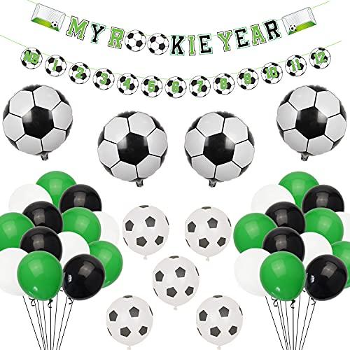 Lilwemen Soccer 1st Birthday Party Supplies, MY ROOKIE YEAR Birthday Banner, First Year Photo Banner and 39 Pcs Balloons for First Birthday Party Baby Shower Decorations