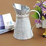 LANTWOO Vintage Style Metal Rustic Pitcher Flower Vase Primitive Jug for Wedding Home Decoration