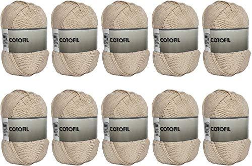 Hilo Ovillo de Cotofil 100% Algodón perfecto para DIY y tejer a mano (Color Beig Claro 100 g, aprox. 250 metros Pack de 10 pcs)