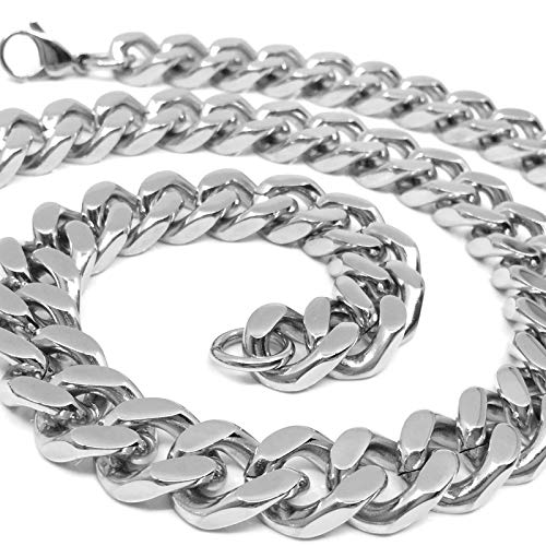 RUGGED STEEL Herren Panzerkette Edelstahl massiv XXL Halskette breit & schwer (14 mm / 190 g) Karabinerverschluss Farbe Silber hochglanzpoliert (55)