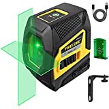 Firecore F113XG Cross-Line Laser Level, Green Beam Self-Leveling Horizontal and Vertical Line Laser with Rechargeable Lithium Battery for Picture Hanging Ceiling Construction Wall Tile Installation