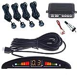 SLS SHOP Kit 4 Sensori di Parcheggio per Auto con Display Suono LED Acustico Verniciabili